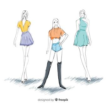 Trzy modelki kobiet mody pozowanie, styl szkic