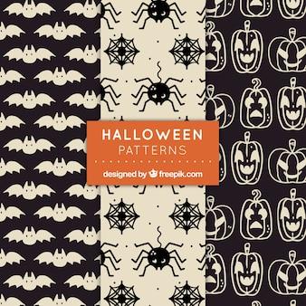 Trzy monochromatycznych wzorów halloween