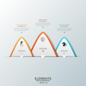 Trzy nakładające się białe trójkątne elementy z papieru z płaskimi ikonami wewnątrz i miejscem na tekst. koncepcja 3 opcji biznesowych do wyboru. szablon projektu plansza. ilustracja wektorowa do prezentacji.