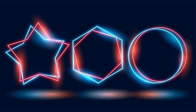 Trzy neonowe ramki w różnych geometrycznych kształtach