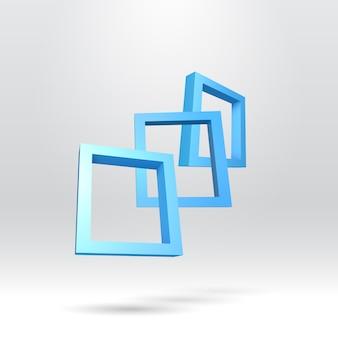 Trzy niebieskie prostokątne ramki 3d