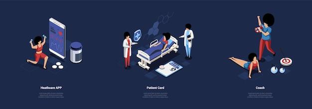 Trzy oddzielne kompozycje sport i opieka zdrowotna ilustracja cartoon 3d style