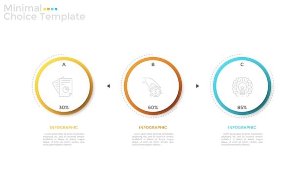 Trzy oddzielne papierowe białe okrągłe elementy z liniowymi ikonami i oznaczeniem procentowym wewnątrz. koncepcja wizualizacji 3 etapów realizacji projektu. szablon projektu plansza. ilustracja wektorowa.