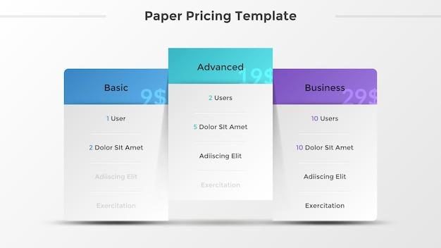 Trzy oddzielne papierowe białe prostokątne elementy list z opisem cech lub dołączonych opcji. koncepcja 3 planów cenowych. szablon projektu nowoczesny plansza. ilustracja wektorowa.