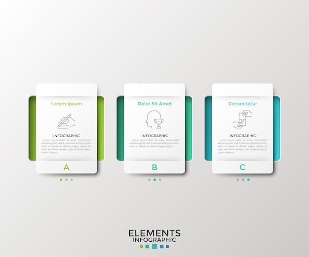 Trzy oddzielne prostokątne białe elementy lub karty z papieru. koncepcja 3 opcji biznesowych do wyboru. szablon projektu nowoczesny plansza. ilustracja wektorowa dla interfejsu menu sieci web, prezentacji.