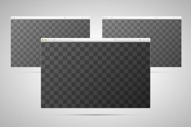 Trzy okna przeglądarki z przezroczystym miejscem na ekran