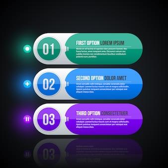 Trzy okrągłe banery internetowe w stylu korporacyjnego błyszczący