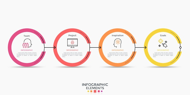 Trzy okrągłe elementy lub pierścienie połączone w poziomy łańcuszek. szablon projektu plansza. minimalna ilustracja wektorowa w prostym stylu płaski do wizualizacji postępu biznesu, wykresu przepływu pracy.