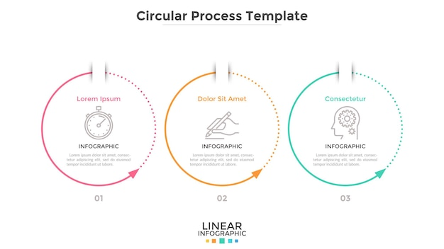 Trzy okrągłe elementy ze strzałkami ułożone w poziomym rzędzie. koncepcja 3 cyklicznych etapów procesu biznesowego. prosty szablon projektu plansza. ilustracja wektorowa płaskie dla diagramu postępu.