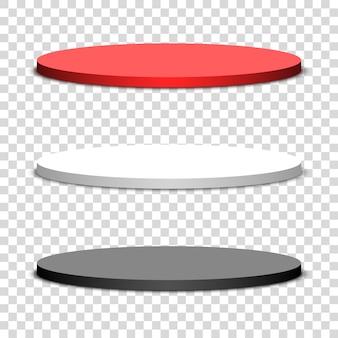 Trzy okrągłe podium na przezroczystym tle. ilustracja.