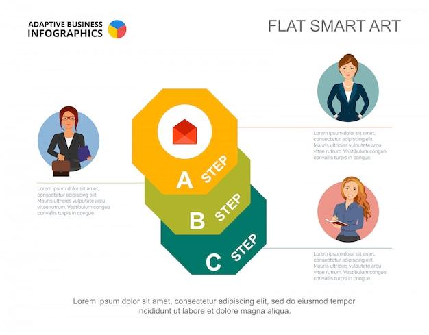 Trzy ośmiokąta szablon wykresu krokowego. edytowalna infografika dla diagramu procesu.