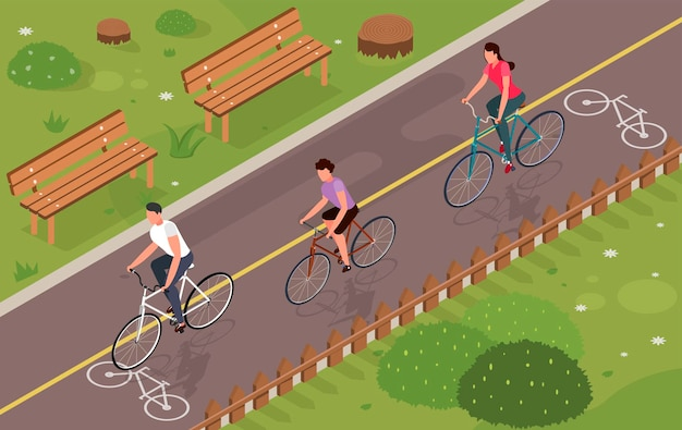 Trzy osoby jeżdżące na rowerach w izometrycznym parku 3d