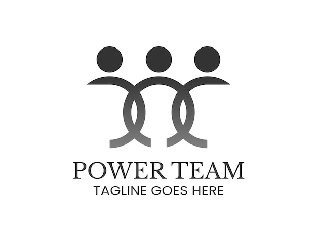 Trzy osoby kultowa sylwetka dla logo pracy zespołowej
