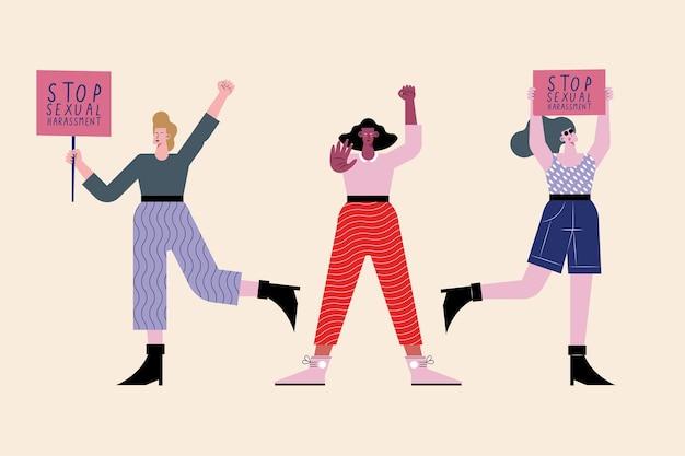 Trzy osoby protestujące przeciwko molestowaniu seksualnemu