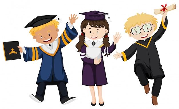 Trzy osoby w sukni ukończenia szkoły