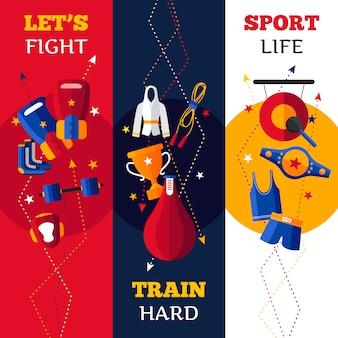 Trzy płaskiego pionowo sztandaru ustawiającego abecadło odizolowywająca ilustracja boksuje atrybutu wektorową ilustrację
