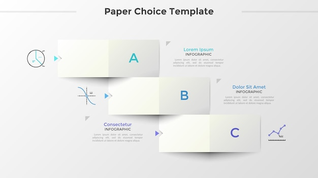Trzy papierowe białe prostokątne elementy z literami ułożonymi jak schodzące schodki, symbole cienkich linii i miejsce na tekst. koncepcja 3 opcji do wyboru. plansza projekt układu. ilustracja wektorowa.
