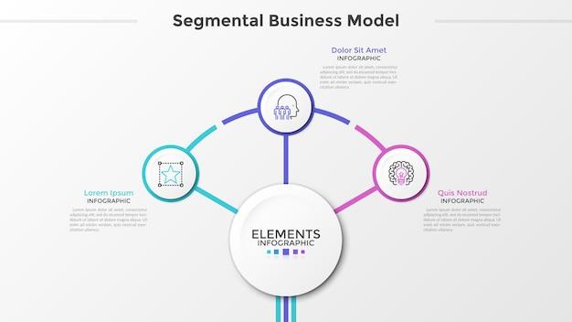 Trzy papierowe okrągłe elementy z cienkimi symbolami linii wewnątrz otaczają główny okrąg pośrodku. koncepcja segmentowego modelu biznesowego z 3 krokami. szablon projektu nowoczesny plansza. ilustracja wektorowa