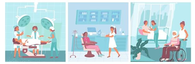 Trzy pielęgniarki z płaskimi ikonami pielęgniarki pomagają lekarzom i pomagają pacjentom na ilustracji szpitalnej