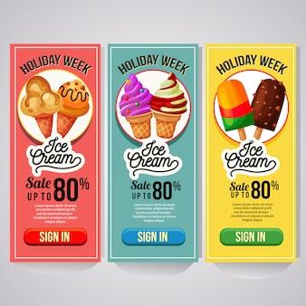 Trzy pionowe banery reklamowe lodów