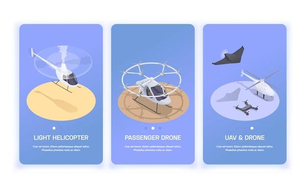Trzy pionowe banery transportu lotniczego