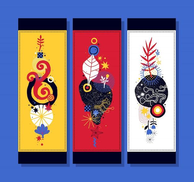 Trzy pionowe banery z abstrakcyjnych kompozycji kwiatowych