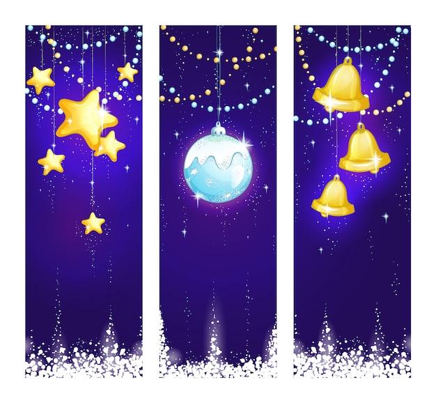 Trzy pionowe świąteczne ilustracji z świecącymi ozdób choinkowych