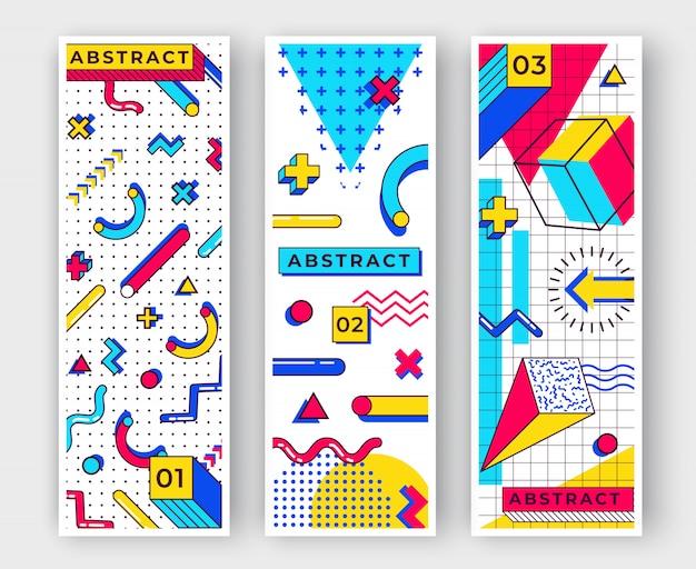Trzy pionowe tła memphis. abstrakcyjne elementy z lat 90. z wielokolorowymi prostymi kształtami geometrycznymi. kształty z trójkątami, okręgami, liniami