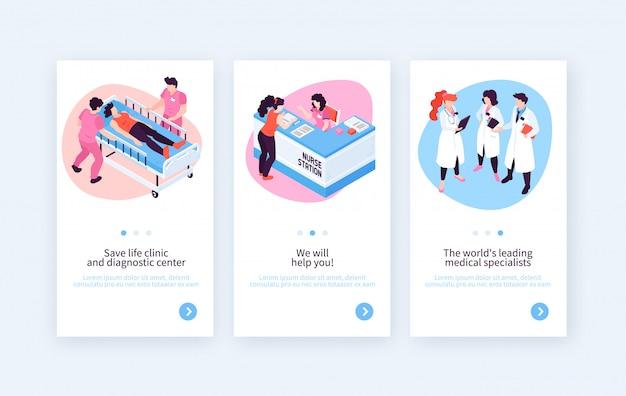 Trzy pionowo sztandaru ustawiającego z szpitalnymi wizerunkami medycznego specjalisty i recepcjonisty charaktery z editable teksta wektoru ilustracją