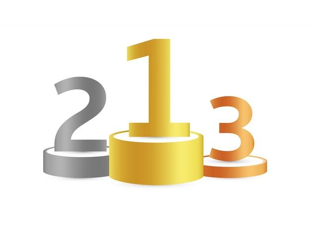 Trzy podium za pierwsze, drugie i trzecie miejsce. złoty, srebrny i brązowy cokół lub platforma z numerem na górze na białym tle.