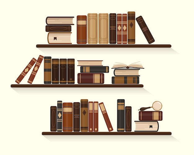 Trzy półki ze starymi lub historycznymi brązowymi książkami w stylu vintage