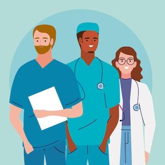 Trzy postacie personelu medycznego