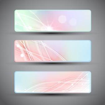 Trzy poziome banery z abstrakcyjnymi liniami w pastelowych kolorach na białym tle z płaskimi ciemnymi rogami
