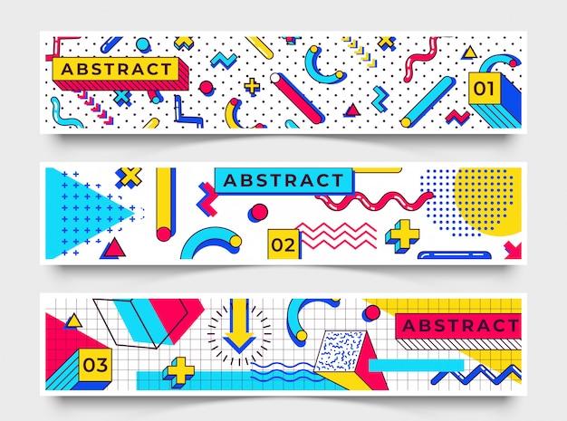 Trzy poziome bannery. elementy w stylu memphis z wielokolorowymi prostymi kształtami geometrycznymi. kształty z trójkątami, okręgami, liniami