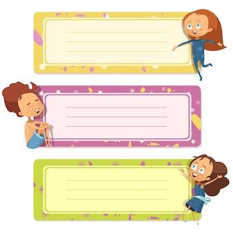 Trzy poziome bannery ustawione na notatnik dziecka