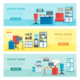 Trzy poziome kolorowe banery biurowe z opisami motywów pakietu office i przyciskami