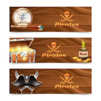 Trzy poziome sztandary piratów