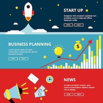 Trzy poziomy banerów internetowych biznesu