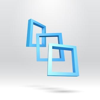 Trzy prostokątne ramki w kolorze niebieskim
