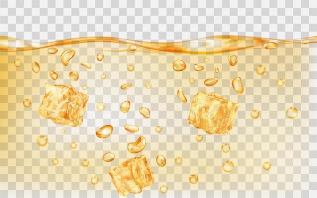 Trzy przezroczyste żółte kostki lodu i wiele pęcherzyków powietrza pod powierzchnią wody na przezroczystym tle. przezroczystość tylko w formacie wektorowym