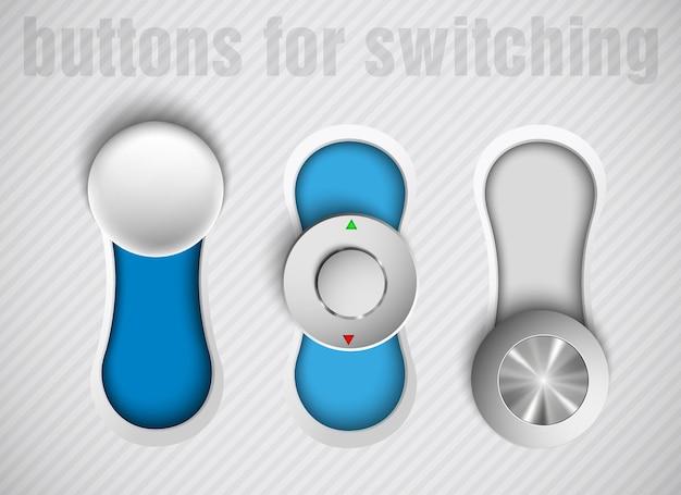 Trzy przyciski przełączają się na niebieski i szary