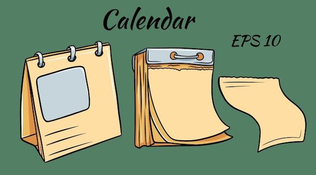 Trzy puste kalendarze różnej wielkości w stylu kreskówki
