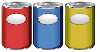 Trzy puszki z różnymi kolorowymi etykietami