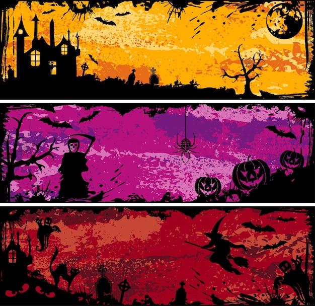 Trzy ramki halloween grunge z bat, dynia, czarownica, duch, element projektu, ilustracji wektorowych