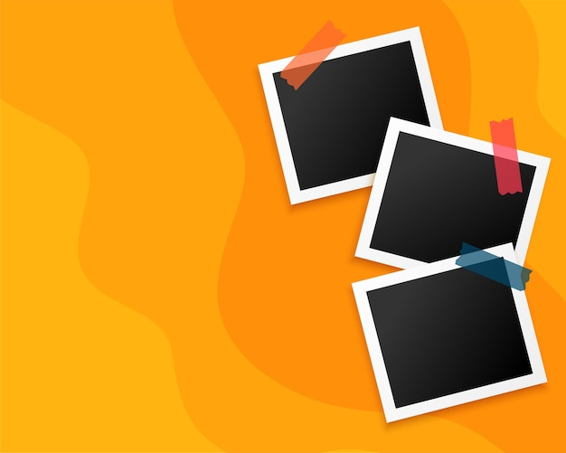 Trzy ramki na zdjęcia na żółtym tle
