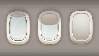 Trzy realistyczne iluminatory samolotu z białego tworzywa sztucznego z otwartym i zamkniętym oknie wektor