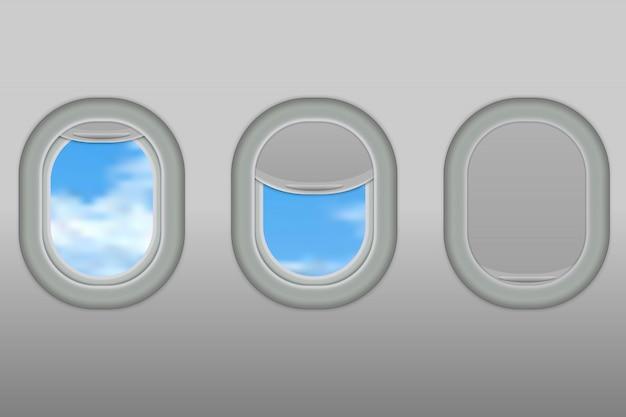Trzy realistyczne iluminatory samolotu z białego plastiku z otwartymi i zamkniętymi roletami okiennymi