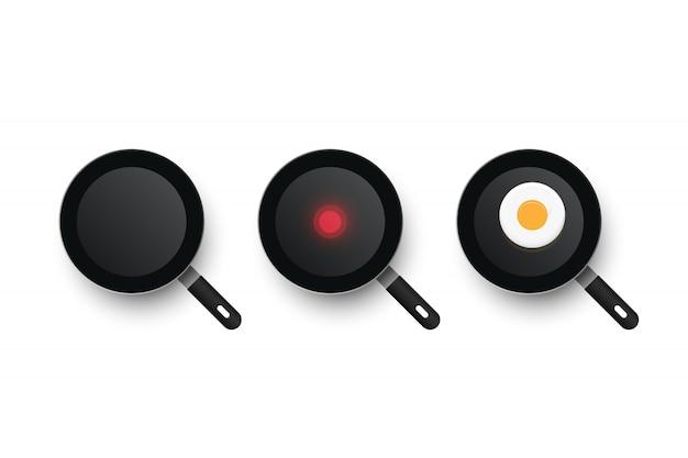 Trzy realistyczne patelnie. proces gotowania smażonych jajek. zimna i gorąca patelnia.