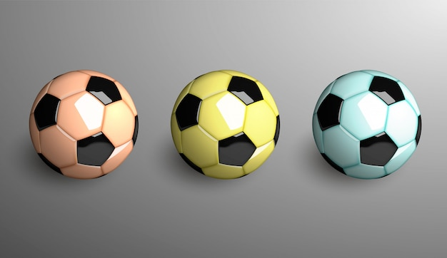 Trzy realistyczne piłki nożnej. ilustracja.