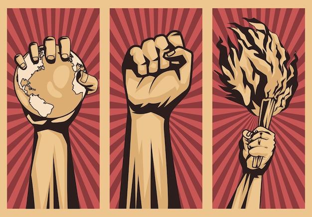 Trzy ręce protestujące przeciwko ikonie rewolucji